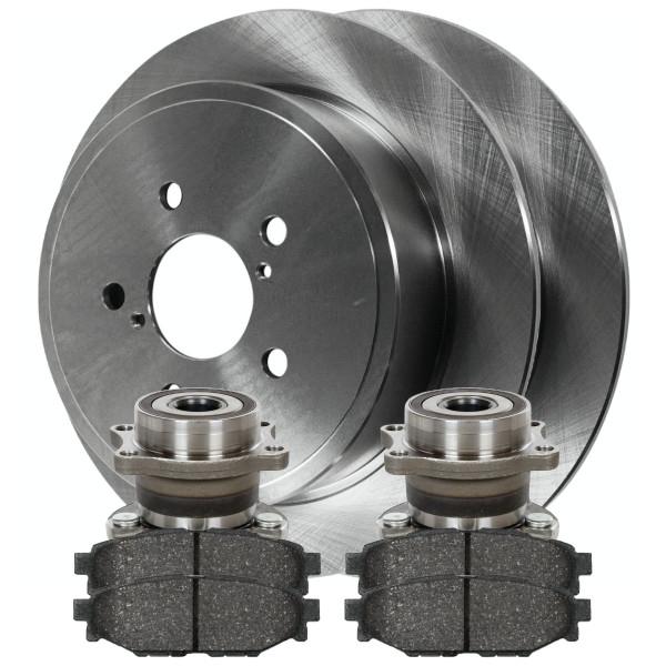 [Rear Set] 2 Brake Rotors & 1 Set Ceramic Brake Pads & 2 Wheel Hub Bearing Assemblies - Part # RHBBK0345