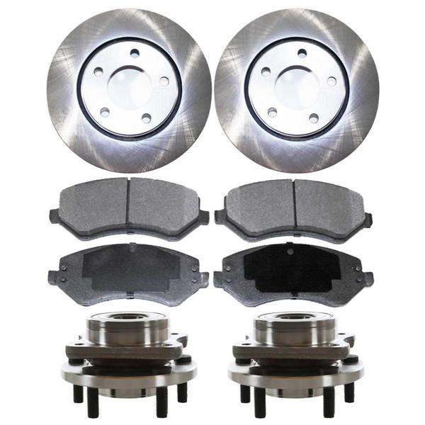 [Front Set] 2 Brake Rotors & 1 Set Ceramic Brake Pads & 2 Wheel Hub Bearing Assemblies - Part # RHBBK0399