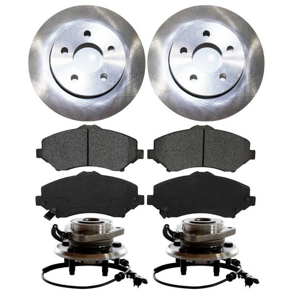 [Front Set] 2 Brake Rotors & 1 Set Ceramic Brake Pads & 2 Wheel Hub Bearing Assemblies - Part # RHBBK0410