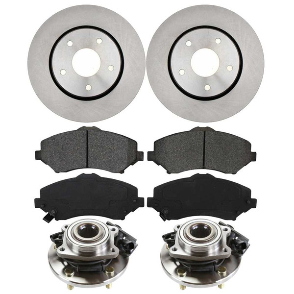 [Front Set] 2 Brake Rotors & 1 Set Ceramic Brake Pads & 2 Wheel Hub Bearing Assemblies - Part # RHBBK0411
