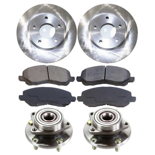 [Front Set] 2 Brake Rotors & 1 Set Ceramic Brake Pads & 2 Wheel Hub Bearing Assemblies - Part # RHBBK0426