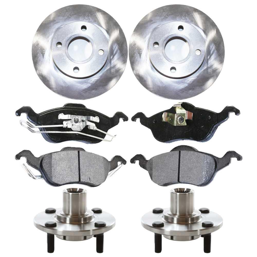 AutoShack RHBBK0267 Front Wheel Hub Bearing Assembly Pair Brake Rotors and Ceramic Pads