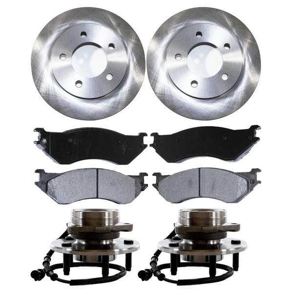 Set of New Front Brake Rotors Ceramic Pads and Hub Bearing Assemblies - Part # RHBBK0434