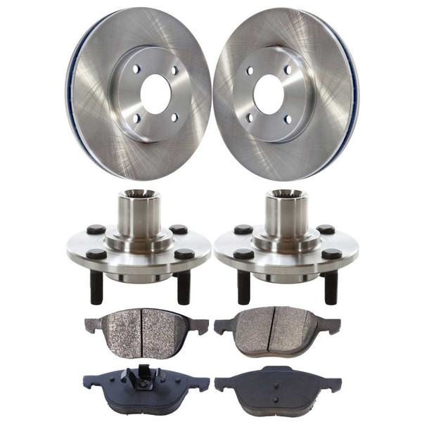 [Front Set] 2 Brake Rotors & 1 Set Ceramic Brake Pads & 2 Wheel Hub Bearing Assemblies - Part # RHBBK0440