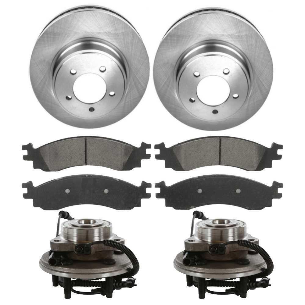 Prime Choice Auto Parts RHBBK0110 Rear Brake Rotors Ceramic Brake Pads and Hub Bearing Assemblies