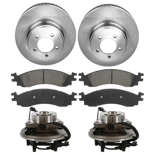 Set of New Front Brake Rotors Ceramic Pads and Hub Bearing Assemblies - Part # RHBBK0441