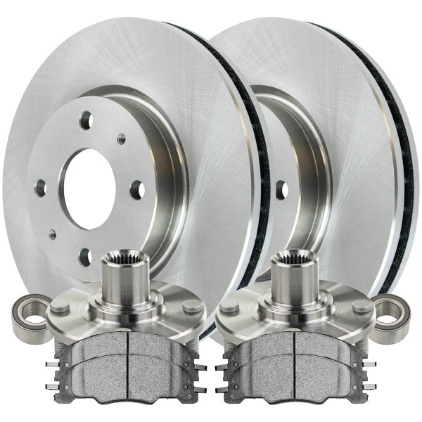 [Front Set] 2 Brake Rotors & 1 Set Ceramic Brake Pads & 2 Wheel Hub Bearing Assemblies - Part # RHBBK0443