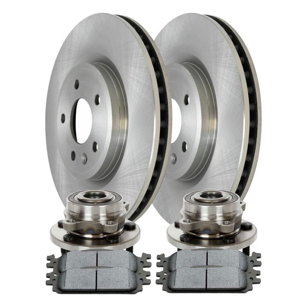 [Front Set] 2 Brake Rotors & 1 Set Ceramic Brake Pads & 2 Wheel Hub Bearing Assemblies - Part # RHBBK0444