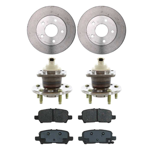 [Rear Set] 2 Brake Rotors & 1 Set Ceramic Brake Pads & 2 Wheel Hub Bearing Assemblies - Part # RHBBK0458