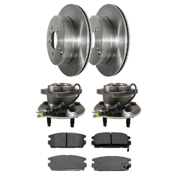 [Rear Set] 2 Brake Rotors & 1 Set Ceramic Brake Pads & 2 Wheel Hub Bearing Assemblies - Part # RHBBK0465