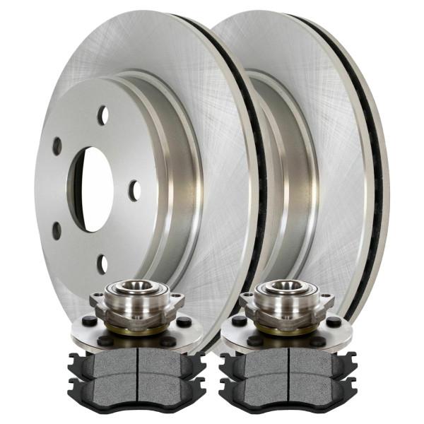 [Front Set] 2 Brake Rotors & 1 Set Ceramic Brake Pads & 2 Wheel Hub Bearing Assemblies - Part # RHBBK0472
