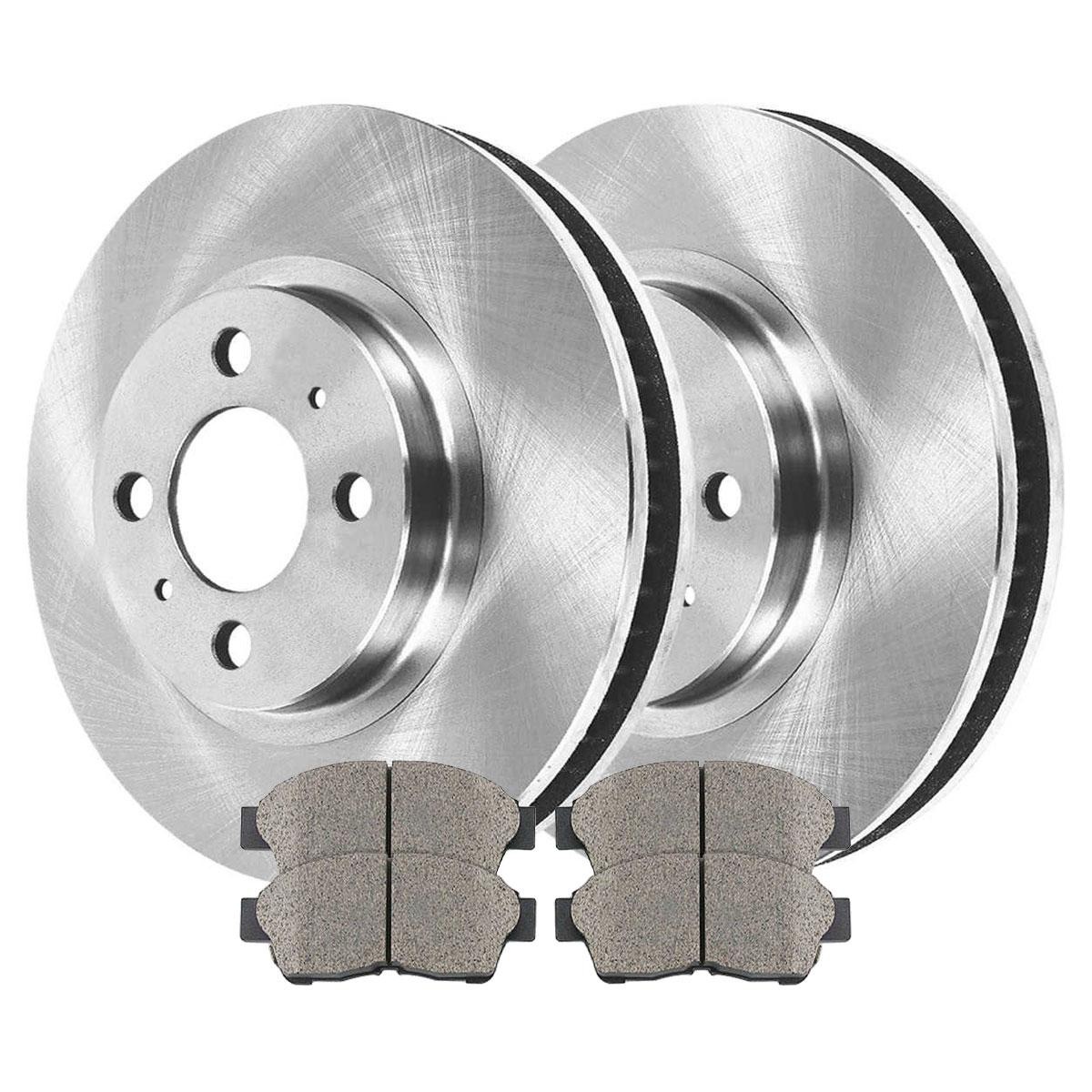 Prime Choice Auto Parts CBO413711088COD Pair of 2 Disc Rotors and 4 Premium Ceramic Brake Pads Set