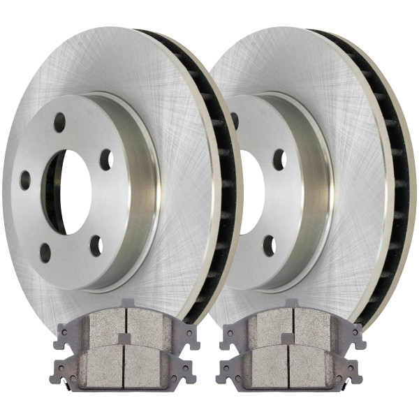 Front Ceramic Brake Pad and Rotor Bundle 10.94 Inch Rotor Diameter - Part # RSCD65042-65042-727-2-4