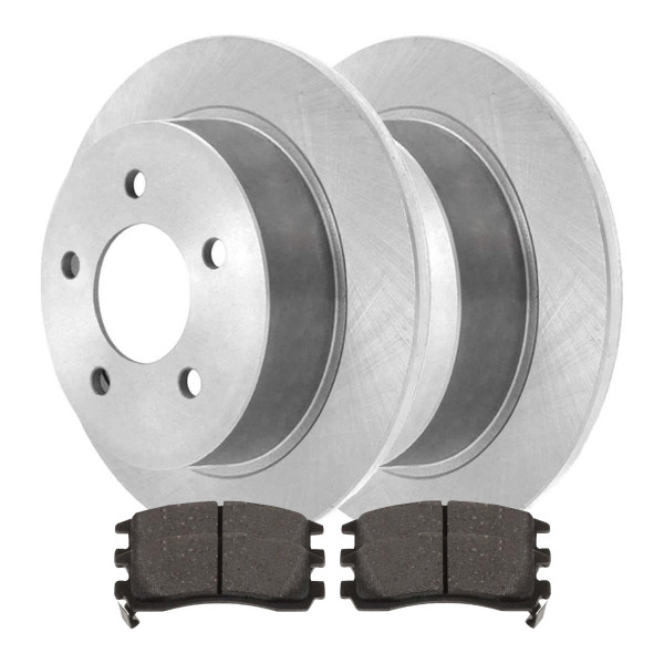 Rear Semi Metallic Brake Pad and Rotor Bundle 4 Wheel Disc - Part # RSMK65041-65041-698-2-4