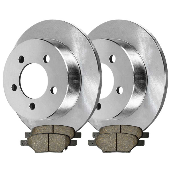 Rear Semi Metallic Brake Pad and Rotor Bundle 4 Wheel Disc - Part # RSMK65096-65096-1033-2-4