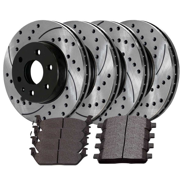 Front Rear Drilled Slotted Brake Rotors Pads for 2004-2008 Ford F150 4WD 6 Stud - Part # SCD1012PR64111