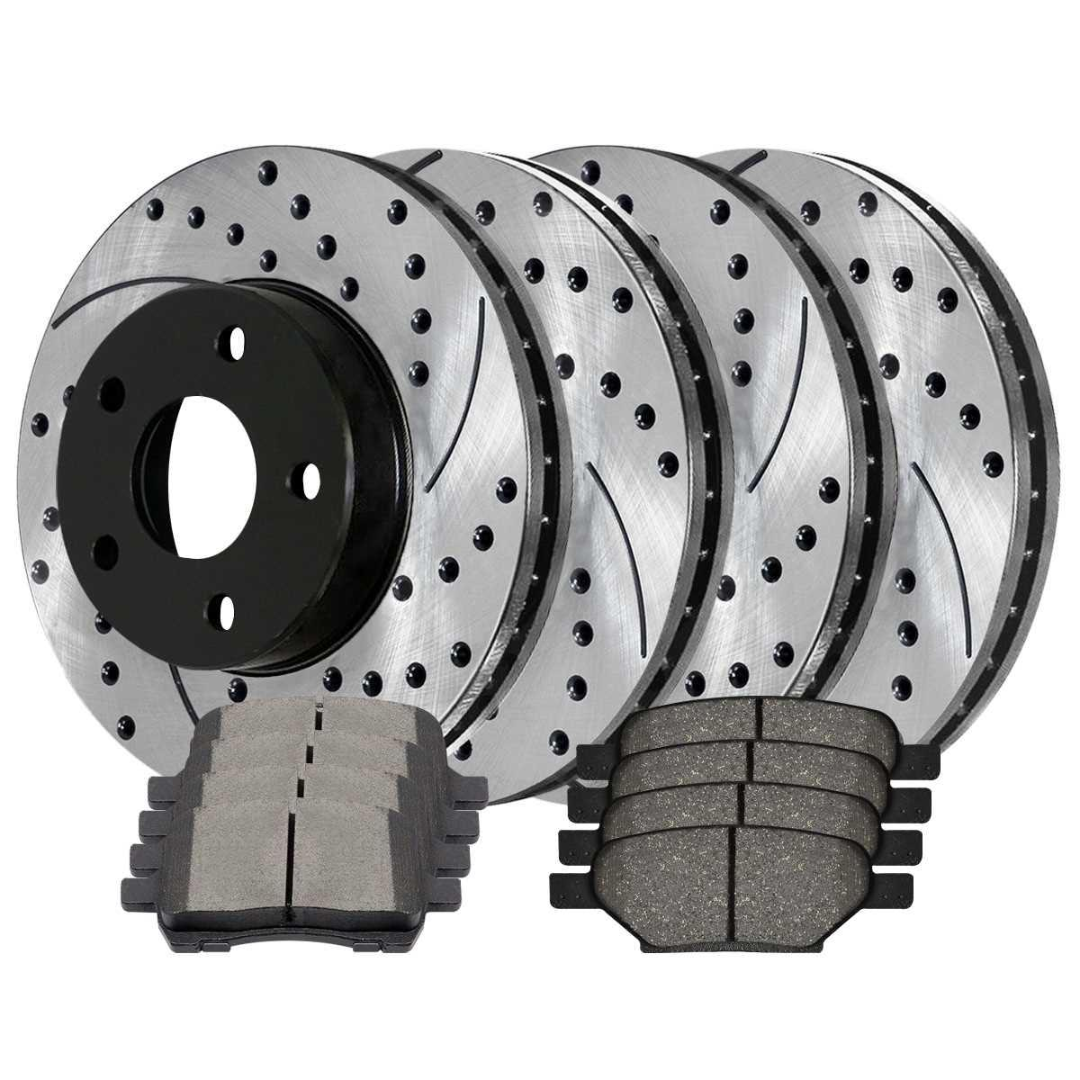 Prime Choice Auto Parts SCD1012PR64111 Set of 4 Drilled Slotted Rotors and 8 Ceramic Brake Pads
