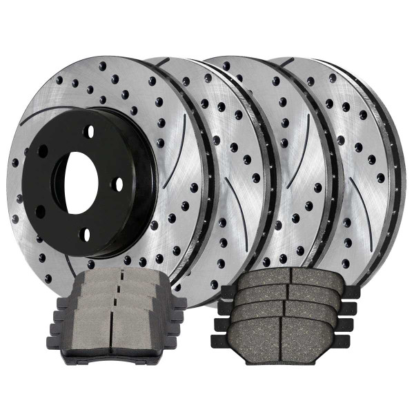 Front and Rear Ceramic Brake Pad and Performance Rotor Bundle 11.65 Inch Front Rotor Diameter - Part # SCD1033PR65095
