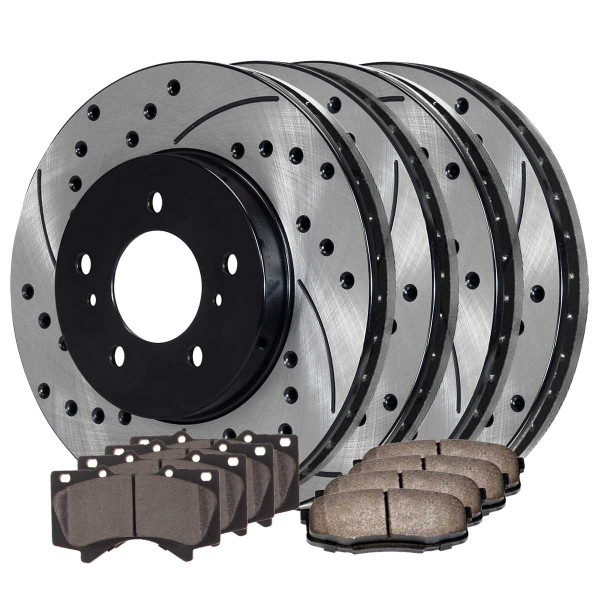 Front and Rear Ceramic Brake Pad and Performance Drilled and Slotted Rotor Bundle - Part # SCD1303PR41485