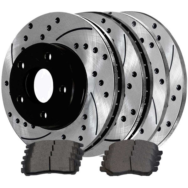 Front and Rear Ceramic Brake Pad and Performance Rotor Bundle - Part # SCD383PR6401