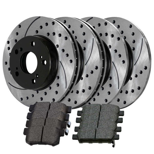 Front and Rear Ceramic Brake Pad and Performance Rotor Bundle - Part # SCD536PR41277