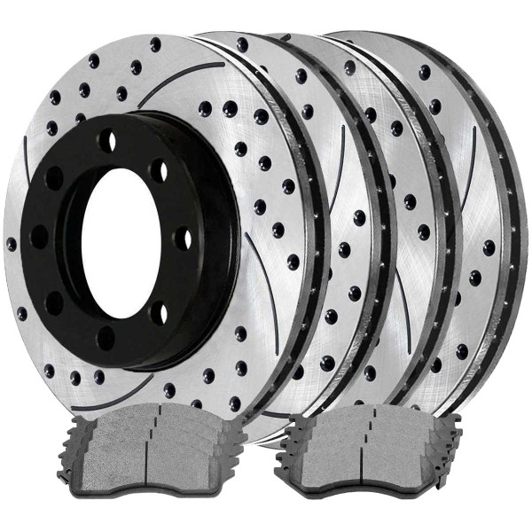 [Front & Rear Set] 4 Drilled & Slotted Performance Brake Rotors & 2 Sets Ceramic Brake Pads - Part # SCD702PR63013
