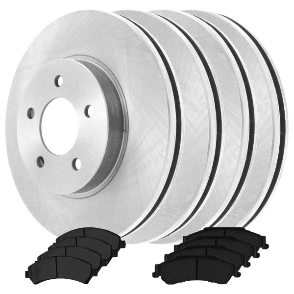 2 Complete Front & Rear Pair 4 Disc Brake Rotors and 8 Ceramic Pads Full Set Kit - Part # SCD7265630