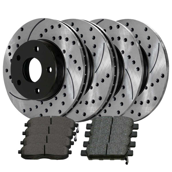 Front Rear Drilled Slotted Brake Rotors Ceramic Pads Kit for 02-04 Nissan Altima - Part # SCD815PR14308