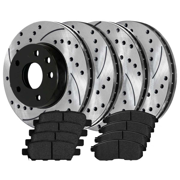 Front and Rear Ceramic Brake Pad and Performance Rotor Bundle - Part # SCD815PR41351
