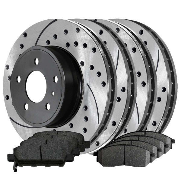 Front and Rear Ceramic Brake Pad and Performance Rotor Bundle - Part # SCD888PR41377