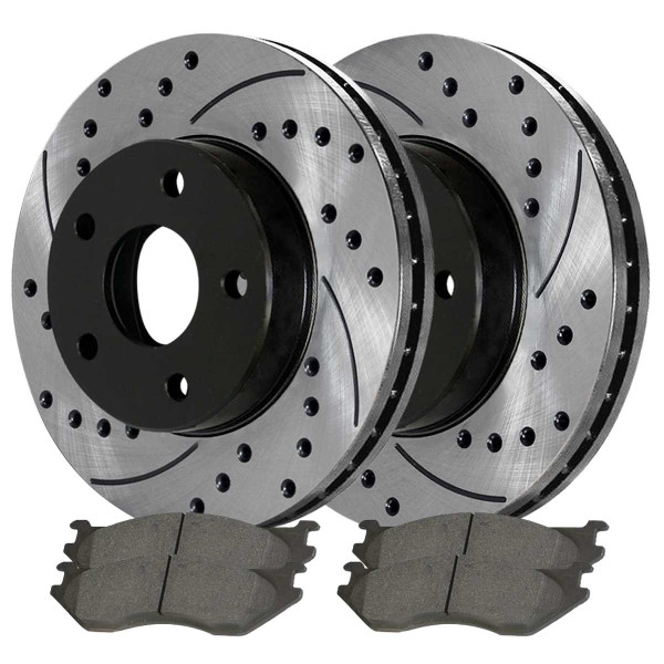 Front Rear Drilled Slotted Brake Rotors Ceramic Pads Kit for 2014-2016 Ram 1500 - Part # SCD967PR63007