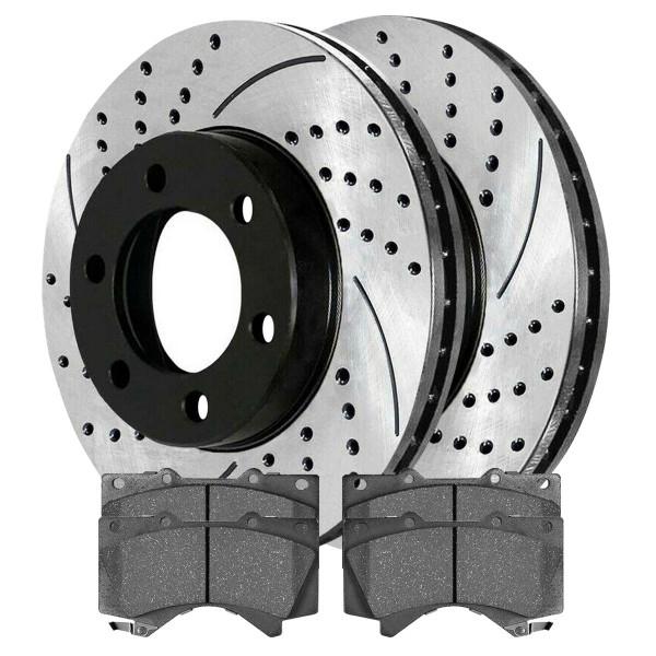 Front Ceramic Brake Pad and Performance Rotor Bundle 5.3 Inch Pad Length - Part # SCDPR4126941269976