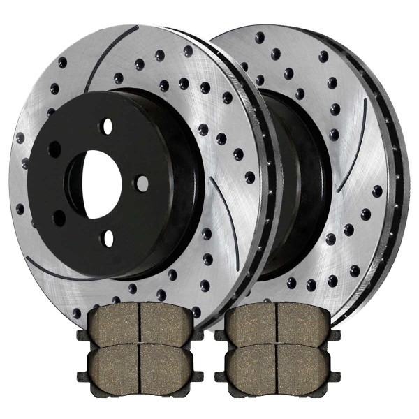 Front Ceramic Brake Pad and Performance Rotor Bundle - Part # SCDPR4127241272923