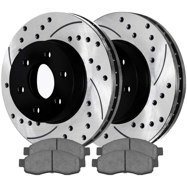 Front Ceramic Brake Pad and Performance Drilled and Slotted Rotor Bundle 12.60 Inch Rotor Diameter - Part # SCDPR41427414271015