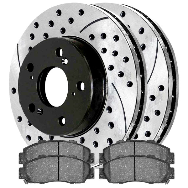 Front Ceramic Brake Pad and Performance Rotor Bundle - Part # SCDPR42984298503