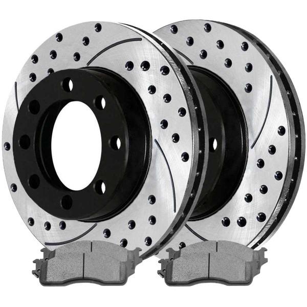 Front Ceramic Brake Pad and Performance Rotor Bundle 8 Stud - Part # SCDPR6301463014965