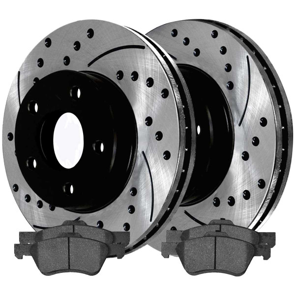 Front Ceramic Brake Pad and Performance Rotor Bundle - Part # SCDPR64125641251047