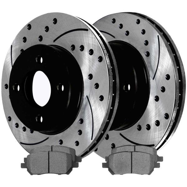 Front Ceramic Brake Pad and Performance Rotor Bundle 4 Stud - Part # SCDPR6508565085956