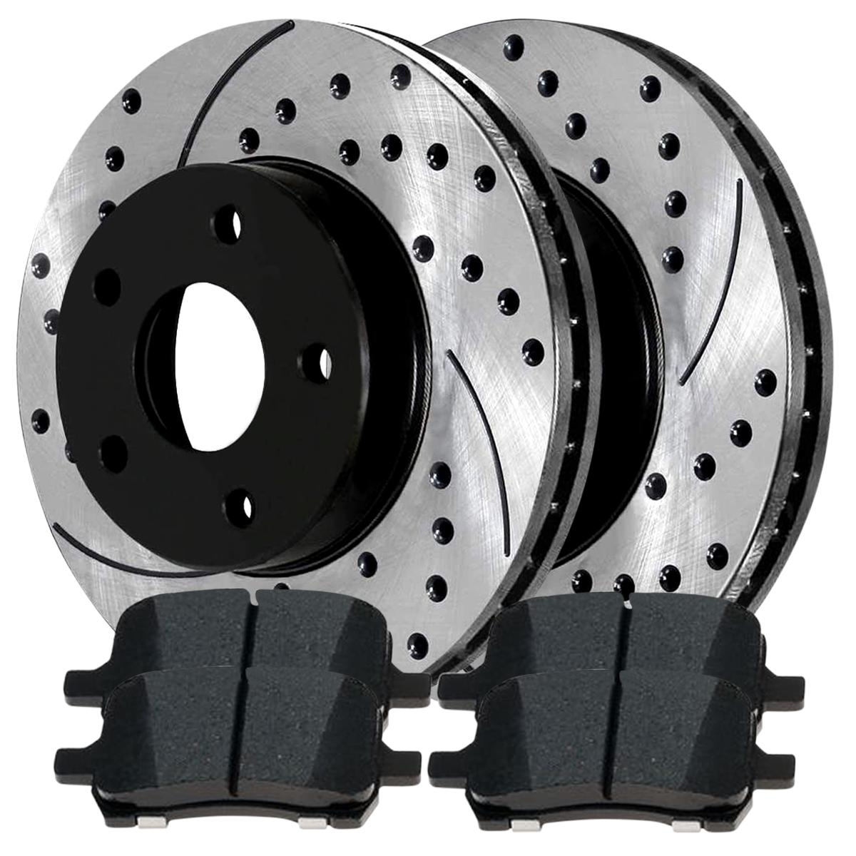 Performance Pad For 06-11 Chevrolet HHR Front 2 Drill Slotted Brake Rotors 4