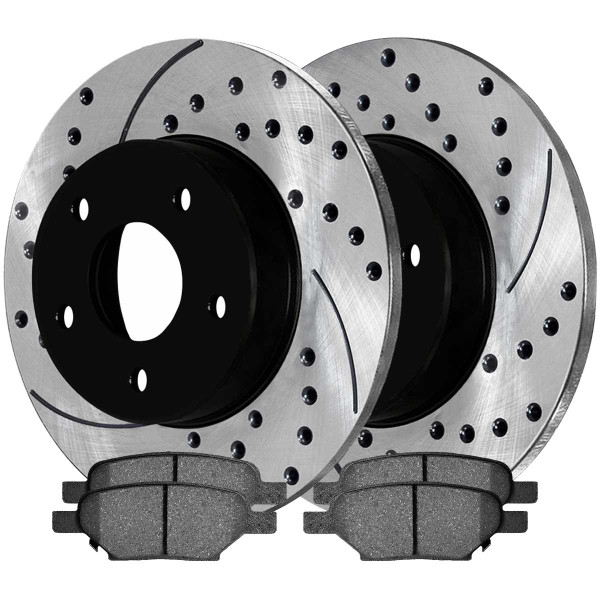Rear Ceramic Brake Pad and Performance Rotor Bundle - Part # SCDPR65096650961033