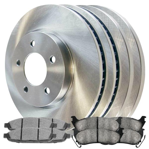 [Front & Rear Set] 4 Brake Rotors & 2 Sets Ceramic Brake Pads - Part # SCDR4098