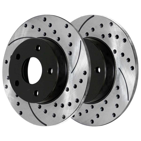 Front and Rear Semi Metallic Brake Pad and Performance Rotor Bundle 296mm Front Rotor Diameter - Part # SMK1033PR65095