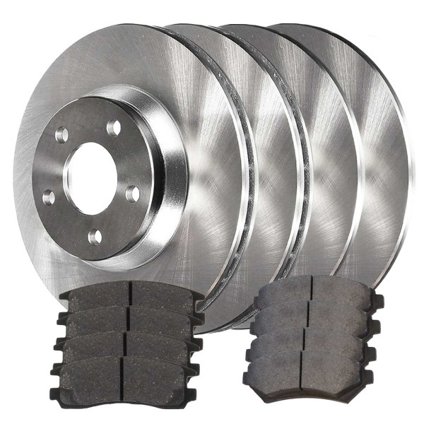 Front and Rear Semi Metallic Brake Pad and Rotor Bundle - Part # SMK69865036