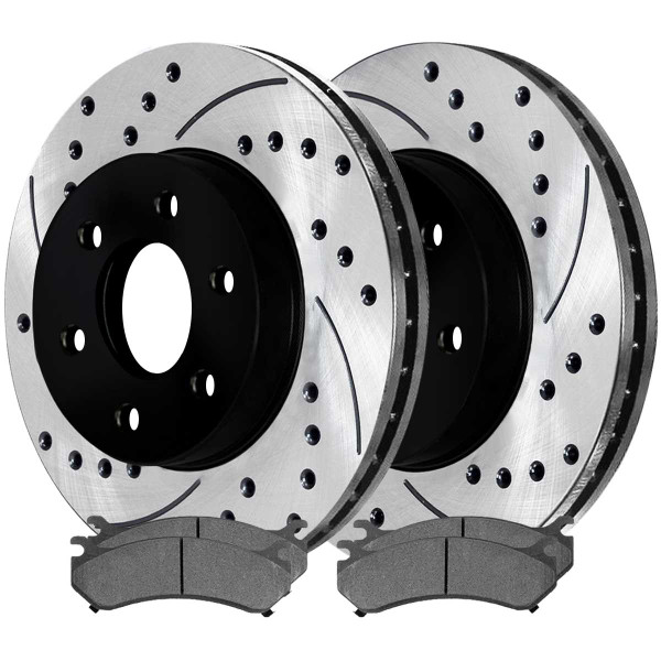 Front Semi Metallic Brake Pad and Performance Rotor Bundle 6 Stud - Part # SMKPR6505665056785