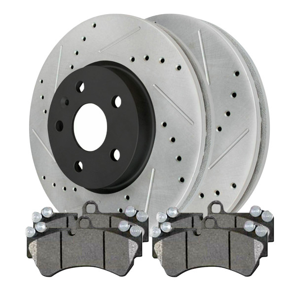 Front Semi Metallic Brake Pad and Performance Drilled and Slotted Rotor Bundle - Part # SMKPR65176651761421