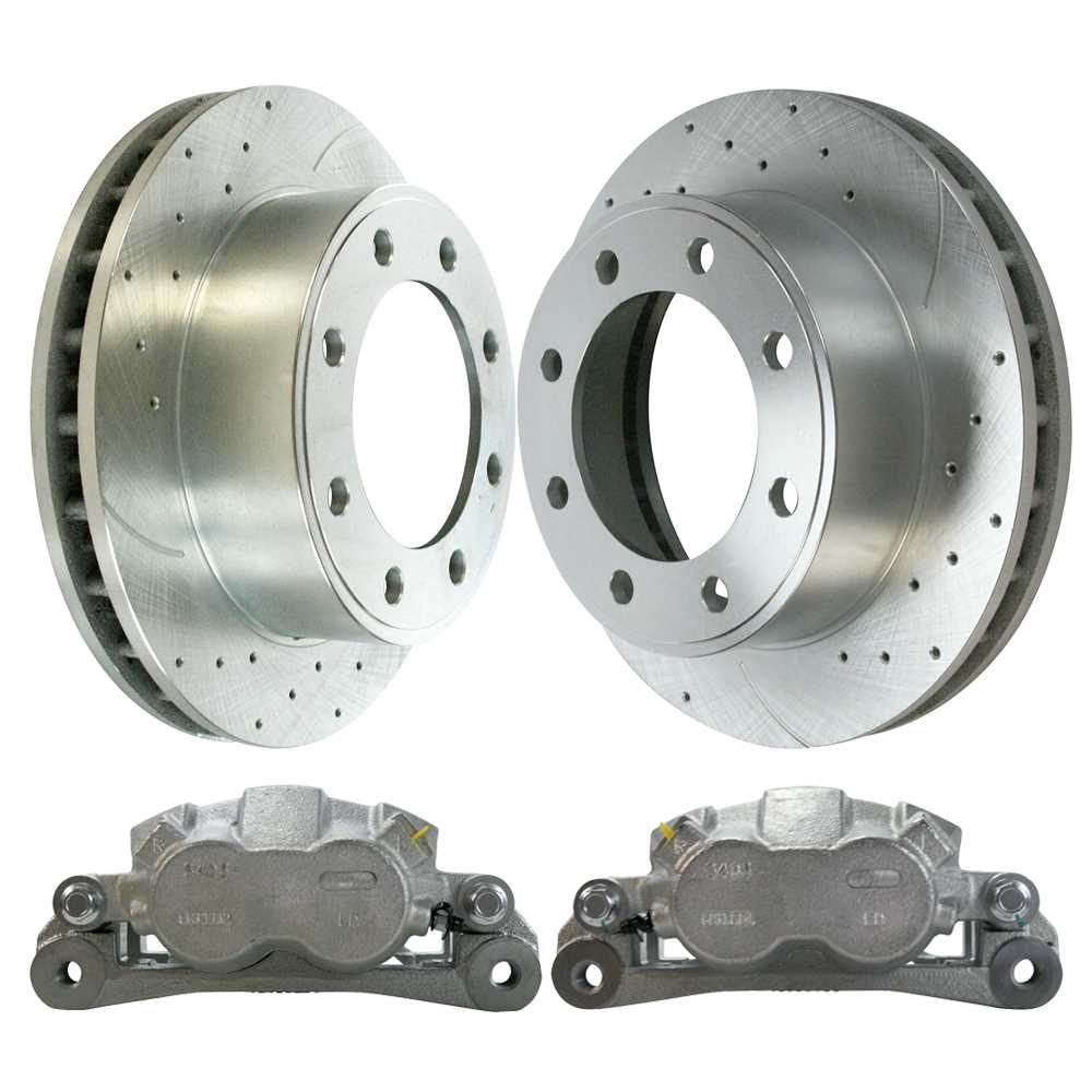 AutoShack SRBRPKG00020 Front Drilled and Slotted Silver Brake Rotors Calipers and Semi Metallic Pads