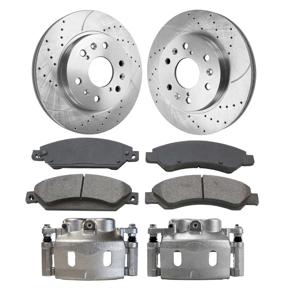 Auto Shack BRAKEPKG0003 Front and Rear Drilled and Slotted Brake Rotors and Ceramic Pads