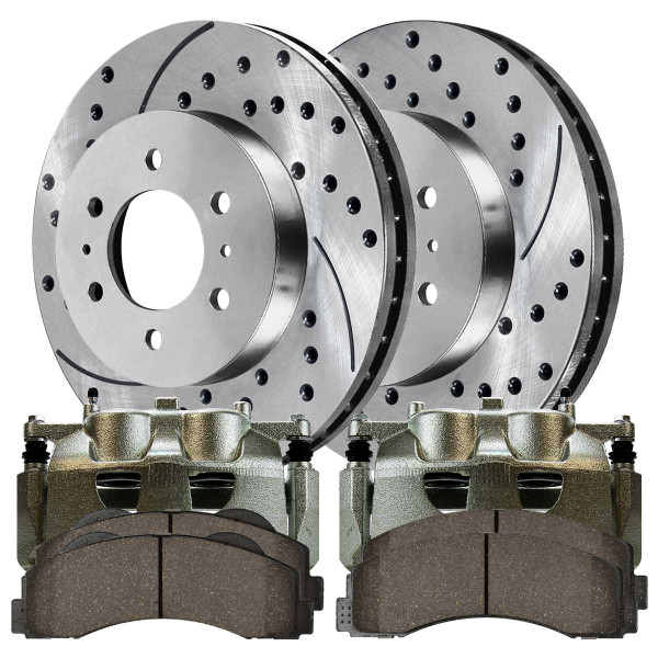 Front Disc Brake Caliper Semi Metallic Brake Pad and Performance Rotor Bundle Silver 6 Stud 2 Piston Caliper - Part # SRBRPKG00044