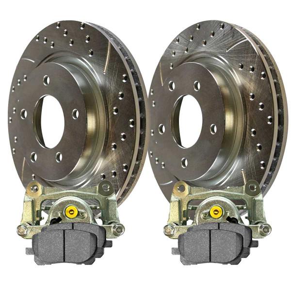 Front Disc Brake Caliper Ceramic Brake Pad and Performance Rotor Bundle Silver 1 Piston Caliper - Part # SRBRPKG00083