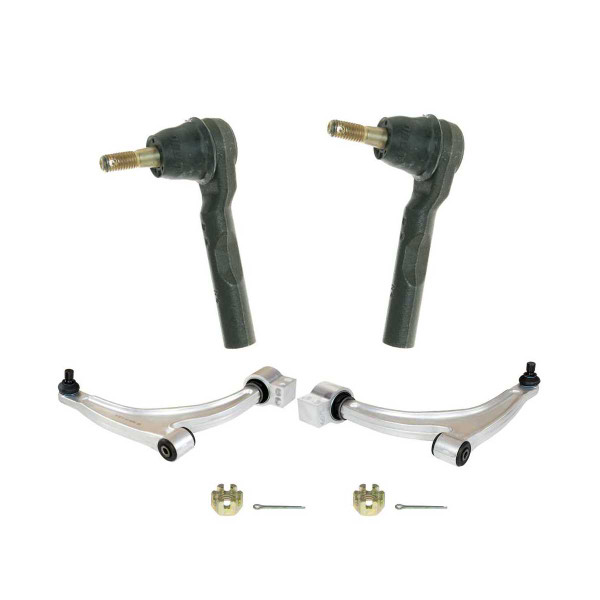 4 Piece Front Lower Control Arm With Ball Joint Front Outer Tie Rod End Bundle - Part # SUSPPK01638